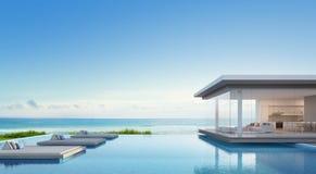 Lyxigt strandhus med havssiktssimbassängen i den moderna designen, semesterhem för stor familj Royaltyfri Bild