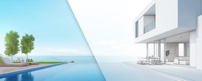 Lyxigt strandhus med havssiktssimbassängen och terrass i den moderna designen, vardagsrumstolar på trägolvdäck på semesterhemmet Arkivfoton