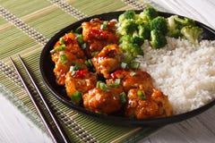 Lyxmat: chickenTsos med ris, lökar och broccoli stänger sig Royaltyfri Foto