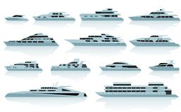 Lyxmotoryachter stock illustrationer