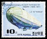 LZ 13 Hansa, 150. födelsedag av Ferdinand Graf von Zeppelin serie, circa 1988 royaltyfri fotografi