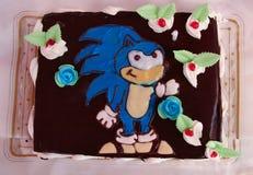 Chocolate cake with Sonic the Hedgehog