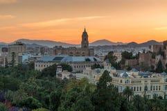 Màlaga bei Sonnenuntergang Stockfotos