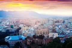 Màlaga mit Kathedrale in der Dämmerung spanien Lizenzfreies Stockbild