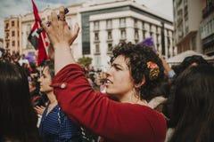 MÀLAGA, SPANIEN - 8. MÄRZ 2018: Tausenden Frauen nehmen am feministischen Streik am Frauen-Tag im Stadtzentrum von Màlaga teil Stockfotografie