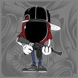 A máfia, desenhos animados vestindo do tampão do bandido multiplica o sinal para a ilustração do vetor do logotipo ilustração stock