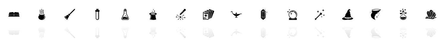 Mágica - ícones lisos do vetor ilustração do vetor