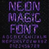 Mágica da fonte Fonte brilhante, brilhante Letras elétricas, números, efeitos da luz ilustração stock