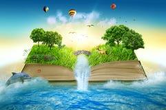 A mágica da ilustração abriu o livro coberto com a cachoeira das árvores de grama Foto de Stock