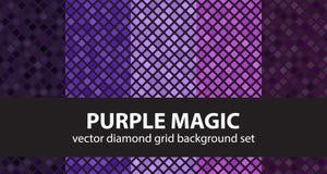 Mágica roxa ajustada do teste padrão do diamante Parte traseira geométrica sem emenda do vetor Foto de Stock Royalty Free