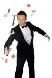 Mágico com espada e cartões Fotos de Stock Royalty Free