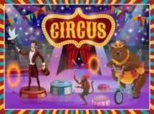 Mágico da mostra do circo da tenda de circo, desempenho dos animais ilustração stock