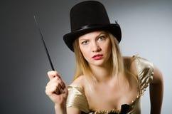 Mágico da mulher com varinha mágica Fotos de Stock Royalty Free