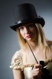 Mágico da mulher com varinha mágica Imagem de Stock Royalty Free