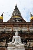 Mágico do arenito branco buddha a atitude da meditação Imagem de Stock