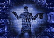 Mágico do computador no fundo do código binário Fotos de Stock Royalty Free