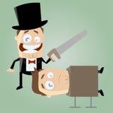 Mágico engraçado dos desenhos animados com uma serra Imagem de Stock Royalty Free
