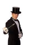 Mágico novo que executa com a varinha Foto de Stock