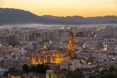 Málaga después de la puesta del sol Fotografía de archivo libre de regalías