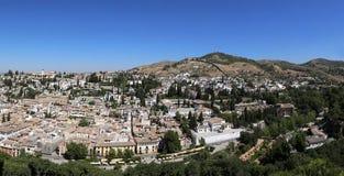 Málaga en Andaluc3ia, España Vista aérea (panorama) de la ciudad Fotos de archivo