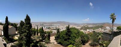 Málaga en Andaluc3ia, España Vista aérea (panorama) de la ciudad Foto de archivo libre de regalías