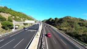 MÁLAGA, ESPAÑA - 6 DE ABRIL DE 2019: Autovia del Mediteraneo a través de Andalucía almacen de metraje de vídeo