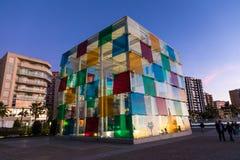 MÁLAGA, ESPAÑA - 1 DE ENERO DE 2018: Centro de Pompidou en Málaga, balneario fotos de archivo