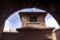 Málaga, España, febrero de 2019 La fortaleza de Alcazaba es un fortalecimiento árabe en el soporte Gibralfaro en la ciudad españo foto de archivo