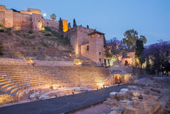 Málaga - las ruinas del amfiteater de Roma (Anfiteatro de Málaga) Imágenes de archivo libres de regalías