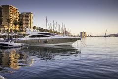 Málaga port. Photography of a Málaga port with docked boats Stock Image