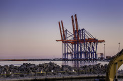 Málaga port. Photography of a sunset in Málaga port, view from Malageta beach Stock Photo
