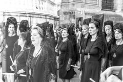 Málaga procession. Photography of religious celebration in Málaga - female part of the procession Spain Royalty Free Stock Image