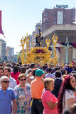 Málaga religion festival. Photography of crowded streets of Málaga during the religious event, Spain Stock Images