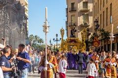 Málaga religion festival. Photography of religious event - procession in the center of Málaga Stock Photo
