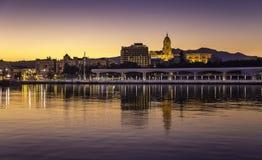 Málaga sunset - Cathedral and promenade Royalty Free Stock Photos