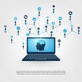 Máquina abstrata e conceito profundamente da aprendizagem, de inteligência artificial, de computação da nuvem e de projeto das re Foto de Stock