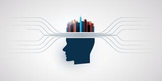 Máquina abstrata e profundamente aprendizagem, inteligência artificial, nuvem que computam, cidade esperta e conceito de projeto  Imagens de Stock Royalty Free