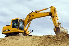 Máquina amarilla del excavador Imagen de archivo