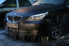 Máquina após a chuva de congelação Fotografia de Stock