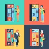 Máquina automática dos povos e do café na ruptura de café lisa do vetor Imagem de Stock Royalty Free
