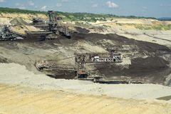 Máquina carbonosa - máquina escavadora da mina Foto de Stock