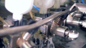 A máquina da fábrica limpa garrafas, fim video estoque