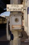 Máquina de anunciación vieja Fotos de archivo libres de regalías