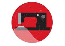 Máquina de coser con el paño, la aguja y el hilo Imágenes de archivo libres de regalías