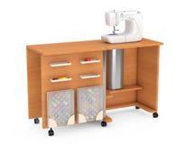 Máquina de coser en el sastre Workshop Wooden Table representación 3d Ilustración del Vector
