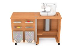 Máquina de coser en el sastre Workshop Wooden Table representación 3d Imagen de archivo