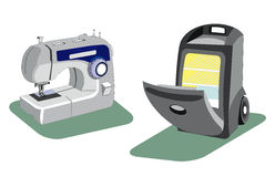 Máquina de coser y un refrigerador para el coche libre illustration