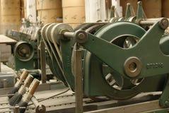 Máquina de costura velha, vista lateral fotografia de stock royalty free