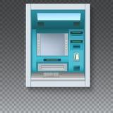 Máquina de dinheiro do banco ATM - Máquina de caixa automatizado com tela vazia e detalhes com cuidado tirados no contexto transp ilustração stock