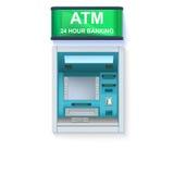 Máquina de dinheiro do banco ATM - Máquina de caixa automatizado com tela vazia e detalhes com cuidado tirados no contexto branco ilustração do vetor